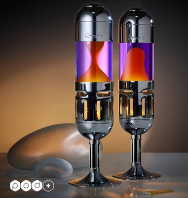 Mathmos Pod+ Kaars lavalamp - Violet met Oranje lava