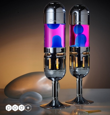 Mathmos Kaars lavalamp Pod+  Roze met Blauwe lava