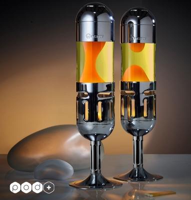 Mathmos Kaars lavalamp Pod+  Geel met Oranje lava