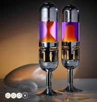 Mathmos Kaars lavalamp Pod+  Violet met Oranje lava