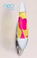 Mathmos Neo Muur lavalamp Wit - Geel met Roze lava