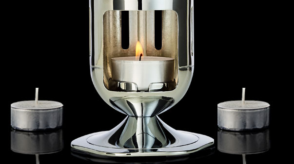 Mathmos Pod lavalamp werkt op een theelichtje